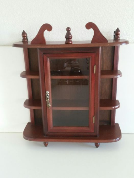Wooden display cabinet / wall cabinet - brass lock - Wood and Plexiglas