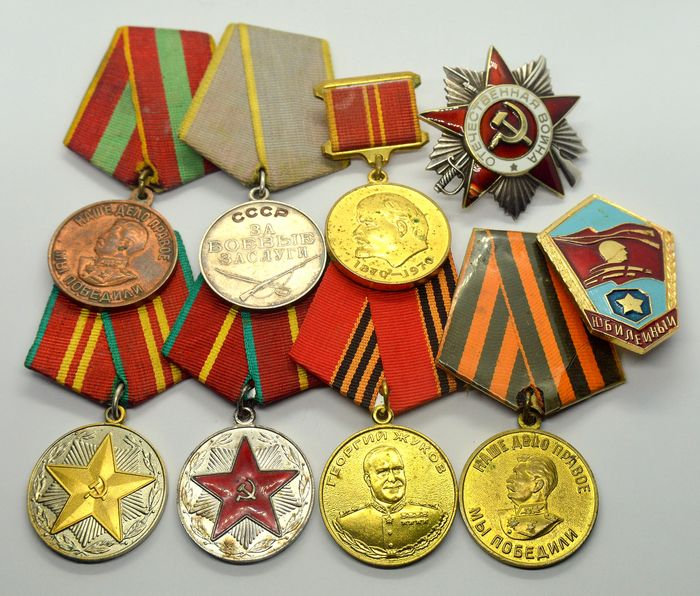 Russia - Collection of Russian medals, badges incl. silver order Patriotic War - Medal