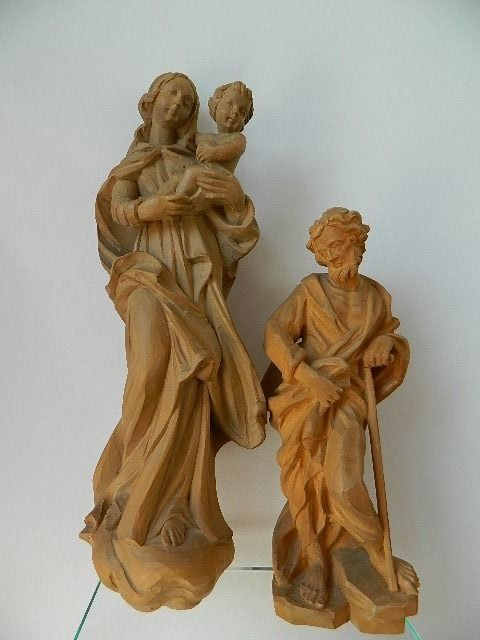 Madonna and Josef (2) - Wood- Oak, Wood-Cedar