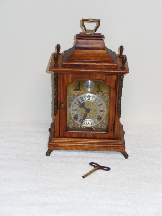 Bracket clock - Brass, Glass, Wood - mid 20th century