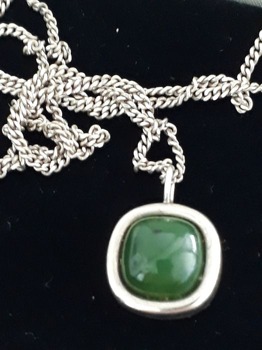 Franz Scheuerle FS - 925 Silver - Necklace with pendant, Pendant Jade Nephrite