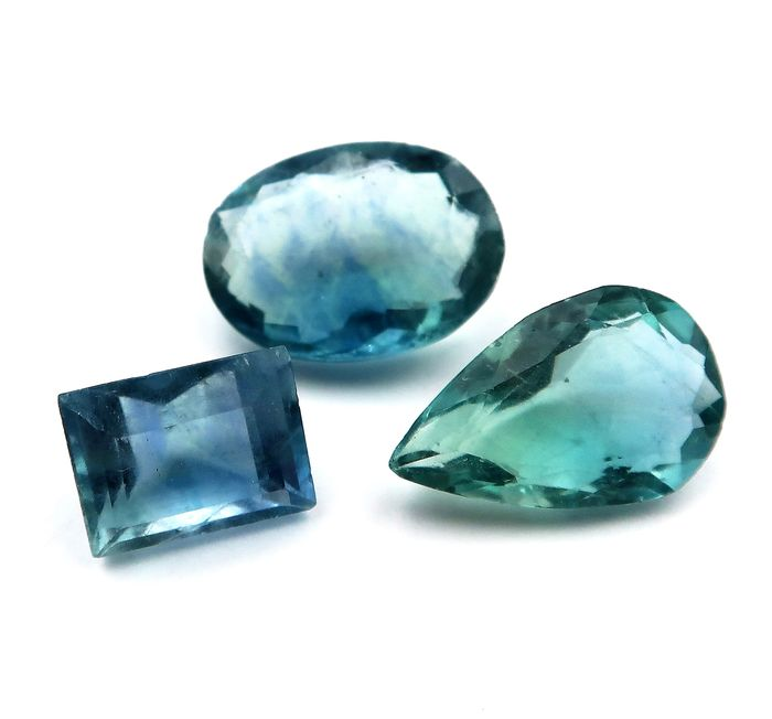 3 pcs Blue, Green Fluorite - 18.60 ct