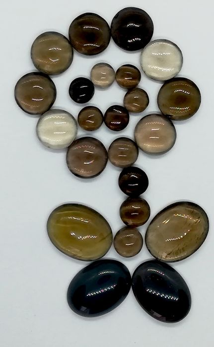 23 pcs Marron Quartz fumé