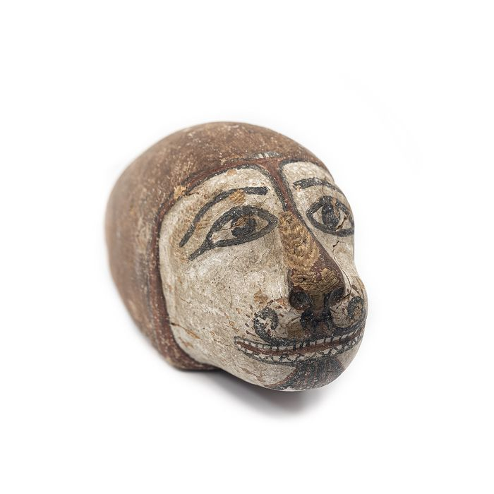 Ancient Egyptian Polychromed wood  Head of a Lion
