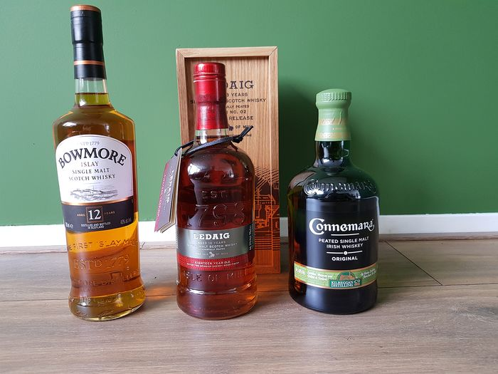 Bowmore 12 years old - Ledaig 18 years old - Connemera Peated - 0.7 Ltr - 3 bottles