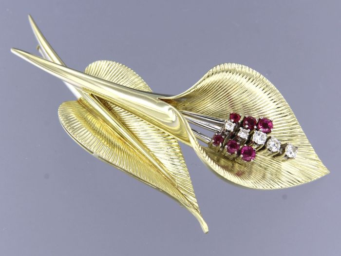 14 carats Or blanc, Or jaune - Broche - 0.26 ct Diamant - Rubis