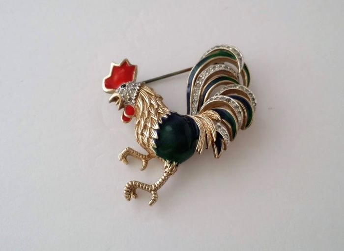 PANETTA Gold-plated - Enamel Rooster Brooch