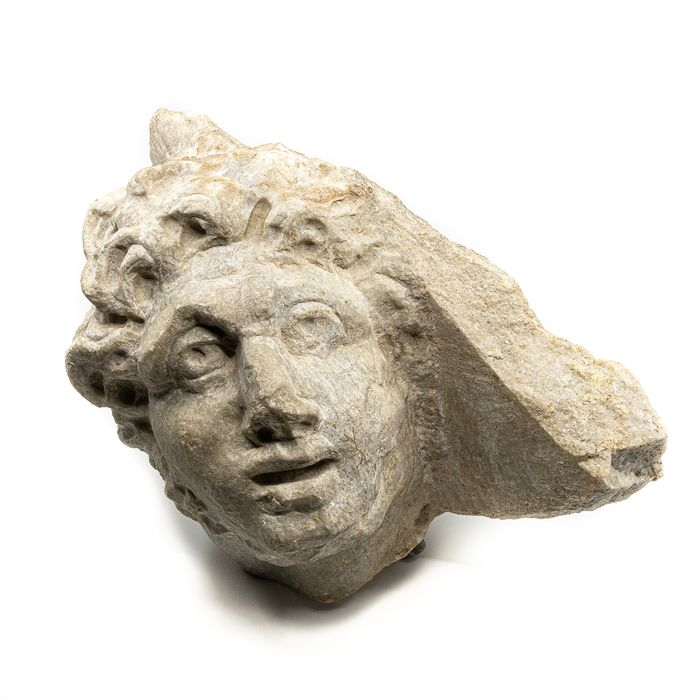 Ancient Roman Marble Head of a Man (from a relief - probably a sarcophagus)  - 23 cm