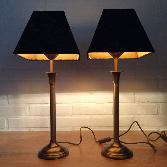 A.T.V  Grootebroek - Table / Bedside Lamps with floral shades - Brass