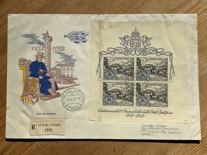 Vatican City 1952 - Souvenir sheet centenary of the papal stamp on FDC envelope circulated via registered mail - Sassone N. 1