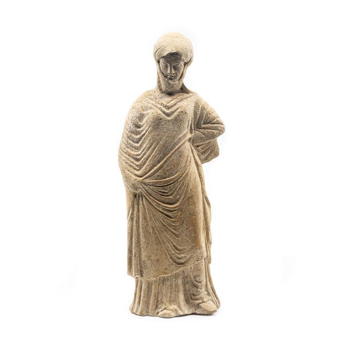 Ancient Greek Terracotta Draped Statuette of a Young Woman, Lady of Fashion  - 20 cm