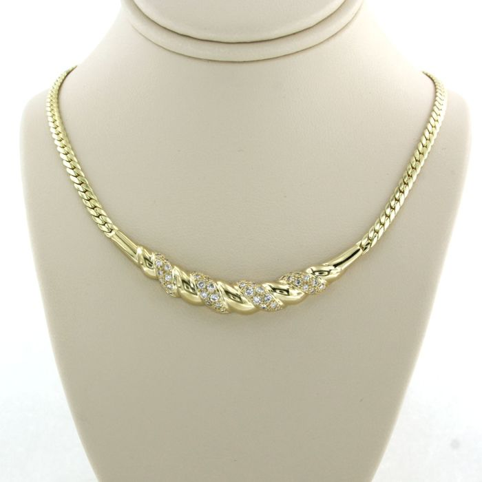 14 kt. Yellow gold - Necklace - 0.60 ct Diamond