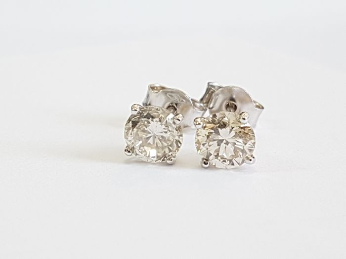 14 kt. White gold - Earrings - 1.98 ct Diamond