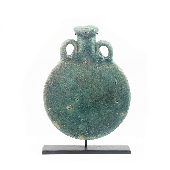 Ancient Egyptian Faience New Years Flask ( also called pilgrims flask) - 15.8 cm