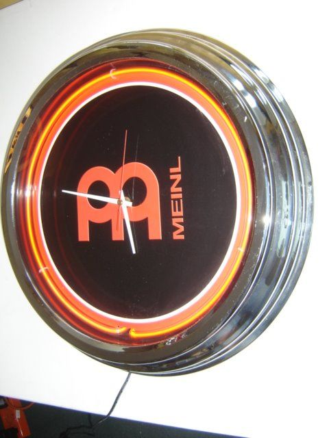 Large Neon store advertising clock fifties styl, - Chrome-plated