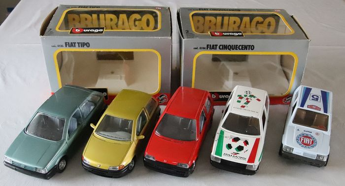 Obsoleto Burago  - 1:24 - Fiat Mini Car collection of 5 cars