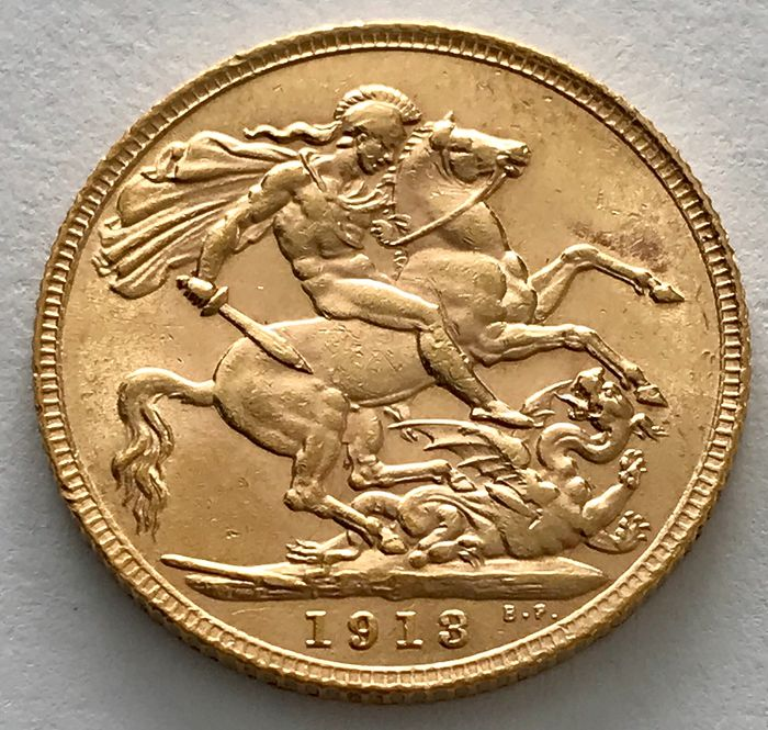Royaume-Uni - Sovereign 1913 - George V. - Or