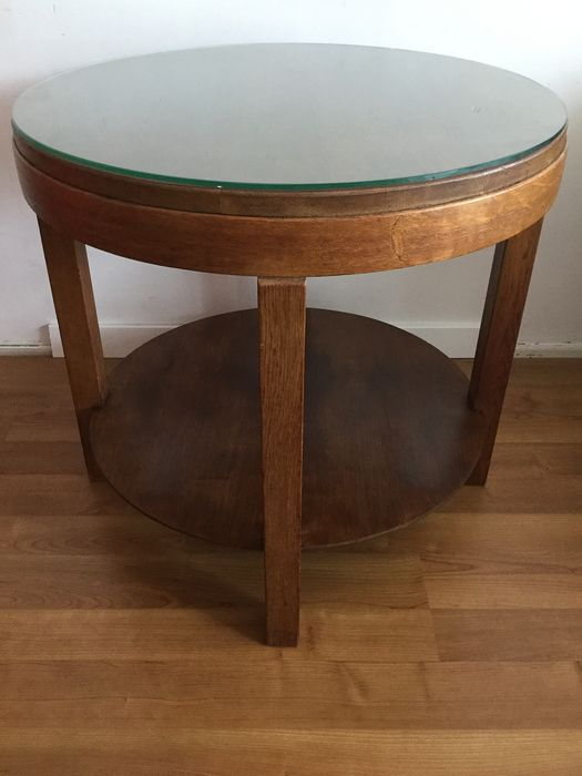 Amsterdam school coffee table with glass plate