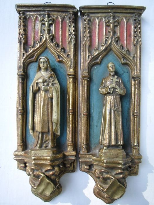 Pair of ornaments Saint Theresia and Saint Gerardus Majella - Plaster / stone