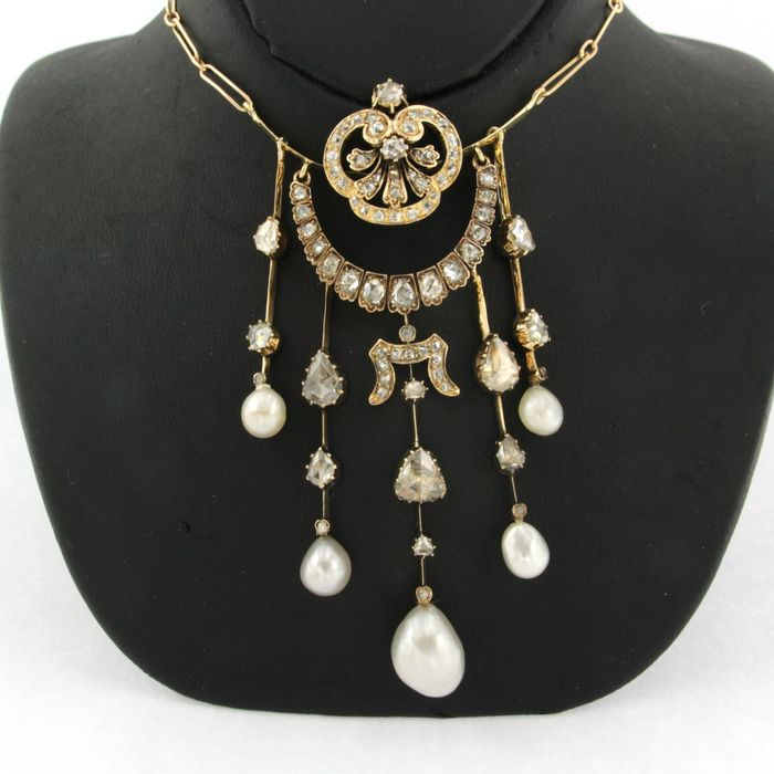 18 kt. Yellow gold - Necklace with pendant - 2.00 ct Diamond - Pearl