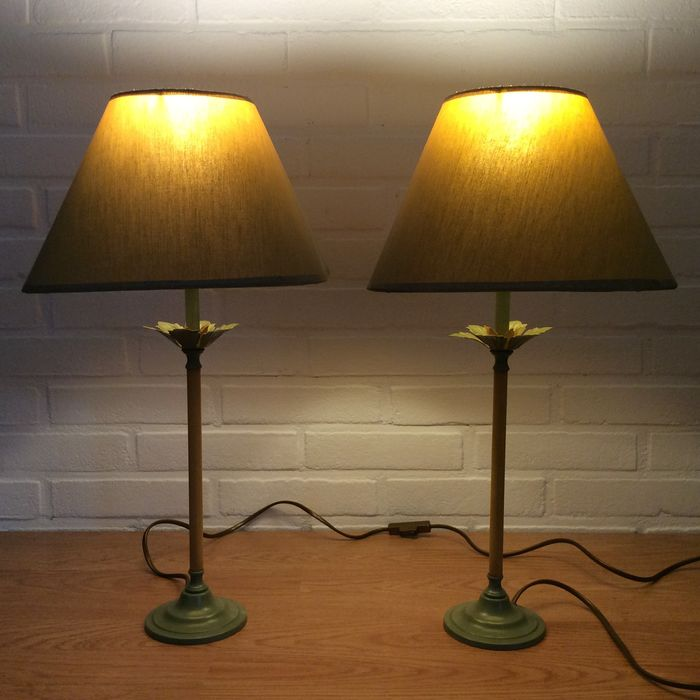 Table / Bedside lamps with leaves motif - Metal