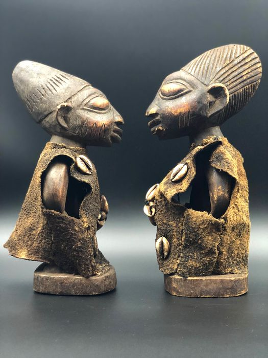 """Couple of Twins IBEJI"" - Wood, Cowry, Rafia - YORUBA - Nigeria"