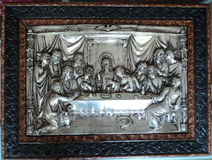 "Painting 3-dementional scene ""The Last Supper"" - Copper, Plaster, Silverplate, Wood"
