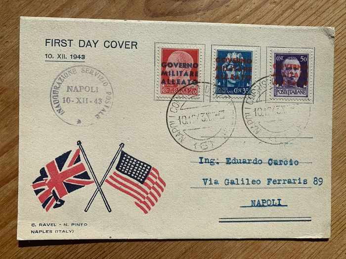 Italy 1943 - AMGOT - the first Italian FDC!  3 values on FDC Ravel-Pinto - Sassone