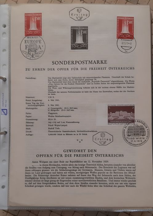 Austria 1961/1965 - Black prints on explanatory leaflets 1961 - 1965 - ANK 1126-1230