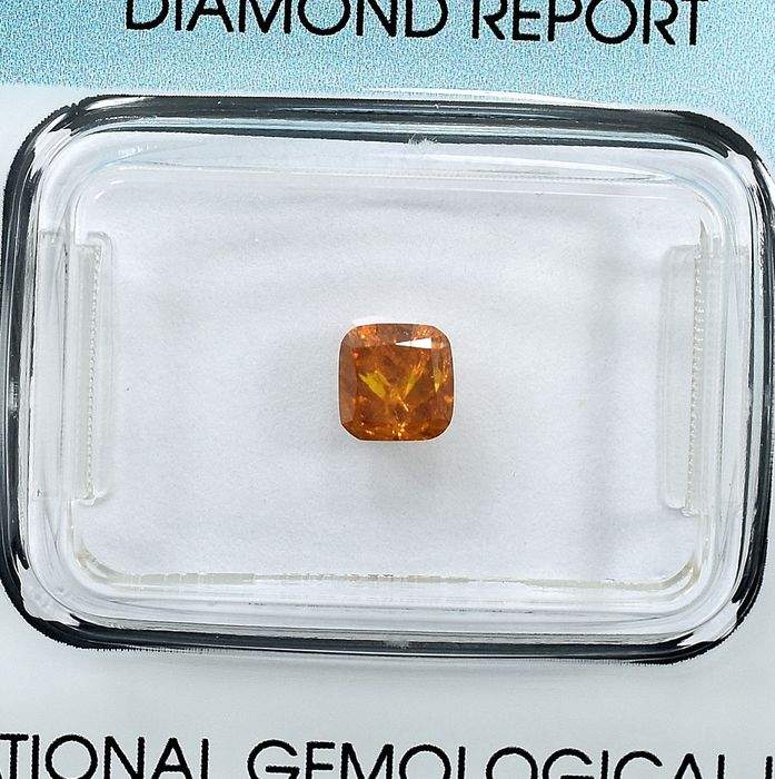 Diamond - 0.59 ct - Cushion - Natural Fancy Intense Orange - I2 - NO RESERVE PRICE
