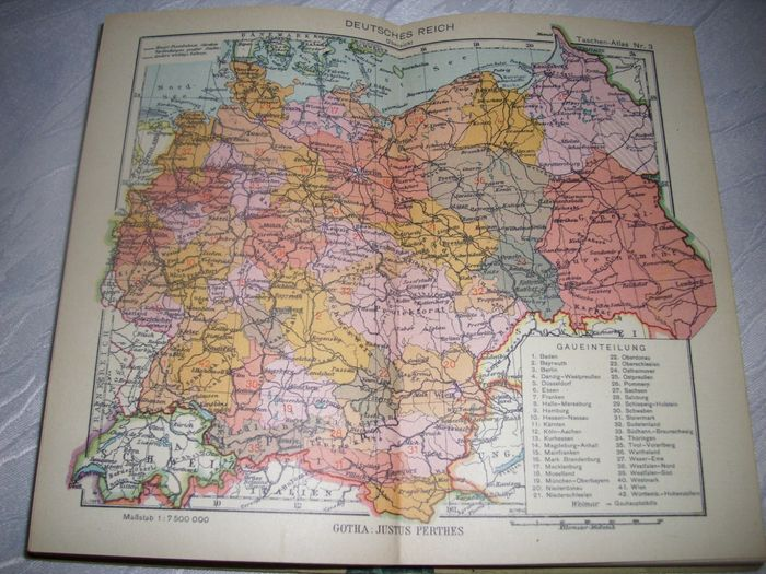 """Germany - 3 rich; 3 x books """"Pocket Atlas"""" """"People's Atlas and"""" Hand Atlas for the German House """"1936 - 1943"""