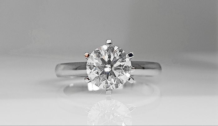 14 kt. White gold - Ring - 1.53 ct Diamond - No Reserve  D/SI1