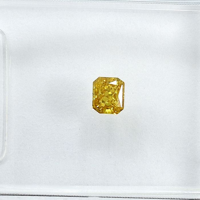 Diamant - 0.13 ct - Radiant - Natural Fancy Intense Yellow - Si2 - NO RESERVE PRICE