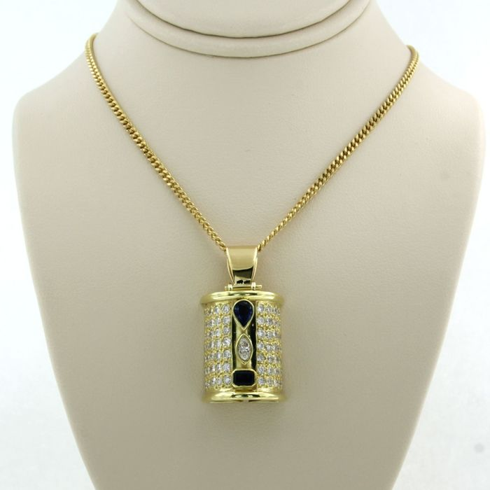 18 kt. Yellow gold - Necklace with pendant - 1.80 ct Diamond - Sapphire