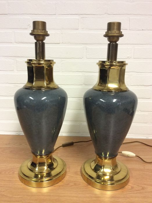 Kullman - Large Chic Table Lamps (2) - Brass, Ceramic