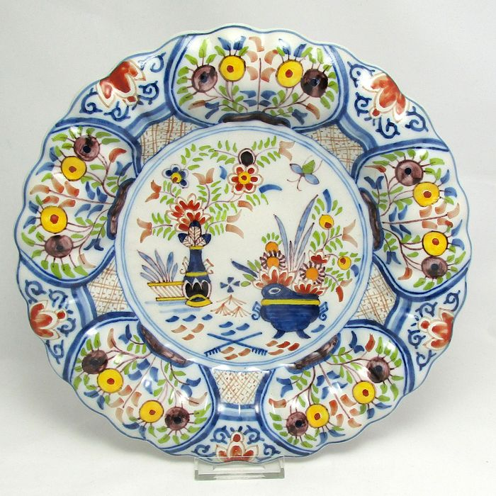 Tichelaar - Makkum - Polychrome pleated dish - Earthenware