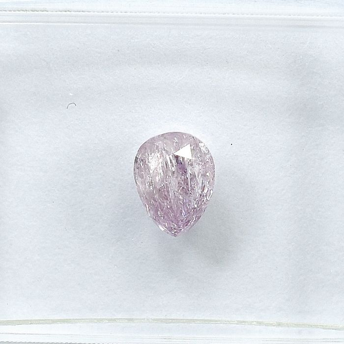 Diamant - 0.43 ct - Poire - Natural Fancy Light Pink - I2 - NO RESERVE PRICE
