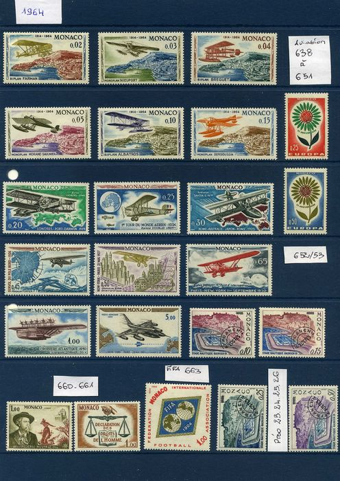 Monaco 1964/1980 - Stamps, booklets and souvenir sheets - Yvert 638/51, 663/8,339/71, 690/92, 695/97, 700/01, 708/21, 722/26, 744/68, 770/71, 806/08, 795/804.......