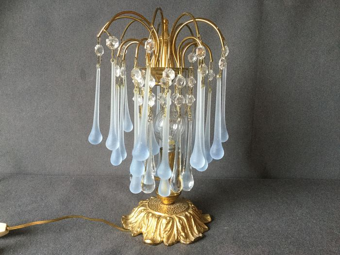 """Beautiful yellow copper """"Teardrops"""" table lamp - - Copper / crystal"""