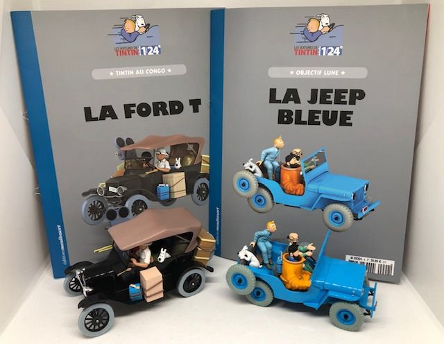 Tintin -  2x Voiture 1/24 - La Jeep bleue + la Ford T - First edition - (2019)