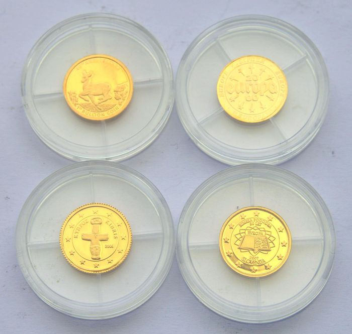 Cook Islands, Europe, South Africa - Lot of 4 gold coins - Krugerrand, Europe 2000, Cyprus, Slovenia (4 coins) - Gold