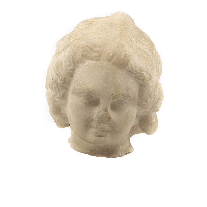 Ancient Roman Marble Head of Eros, the god of Love