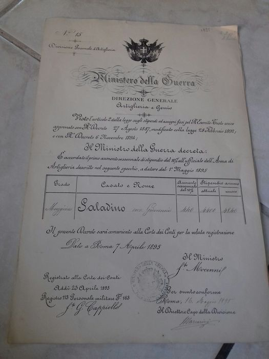 Italy - Artillery - Document - 1900
