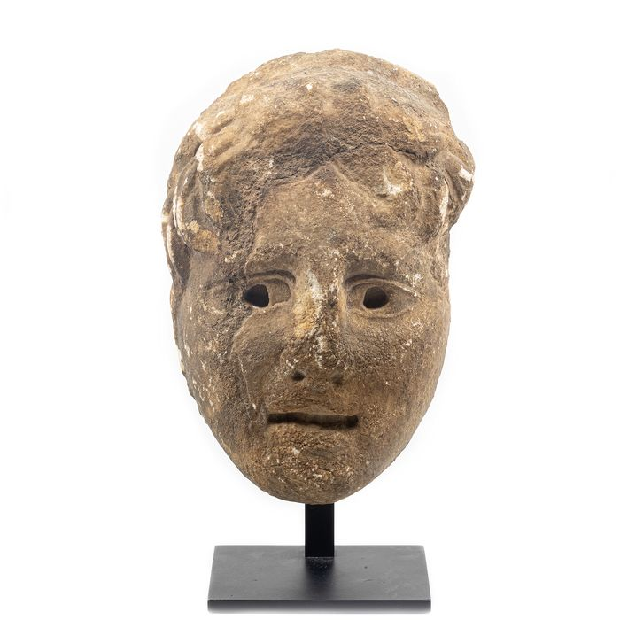 Ancient Roman Marble Head of a Youth in Relief