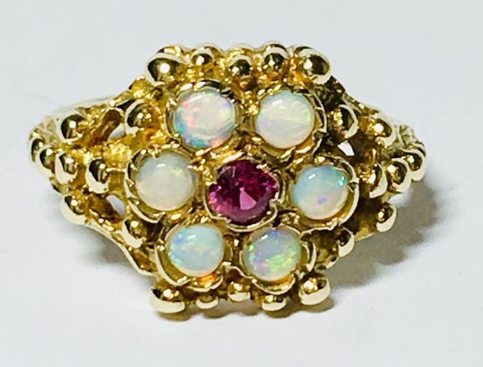 9K Yellow gold - Dress Ring Opal - Garnet