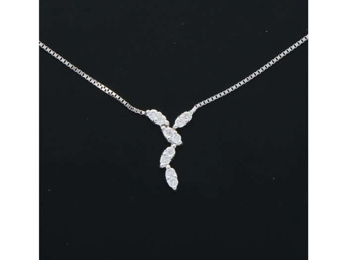 18 kt. White gold - Necklace - 0.10 ct Diamond
