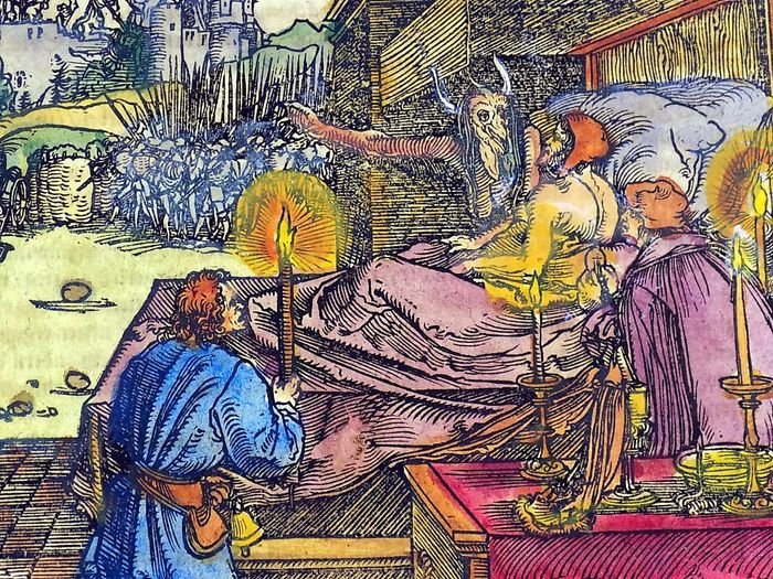 Hans Weiditz (1500-1536) - Large Master Woodcut - Death shows life of Battle to dying Man - Hand coloured - From the Collection of Willy Roth - 1532