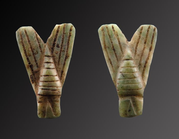 Ancient Egyptian Jade Double-sided Air amulet - 15×10×4 mm - (1)