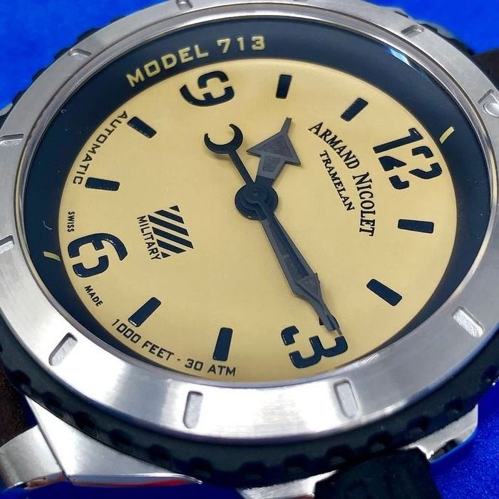 """Armand Nicolet - Automatic S05-3 Military Champagne Dial Swiss Made - A713PGN-KN-PK4140TM """"NO RESERVE PRICE"""" - Herren - Brand New"""