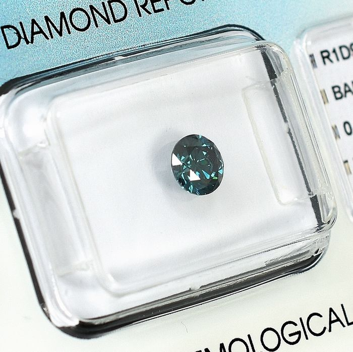 Diamond - 0.52 ct - Brilliant - Fancy Deep Blue - SI1